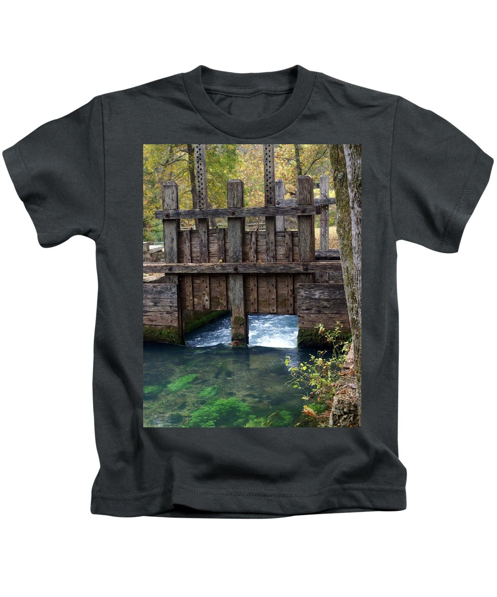 Alley Spring Kids T-Shirt featuring the photograph Sluce Gate by Marty Koch
