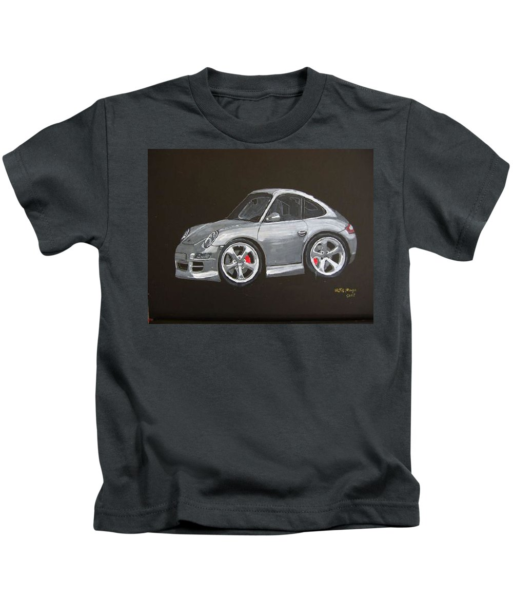 Car Kids T-Shirt featuring the painting Smart Porsche by Richard Le Page