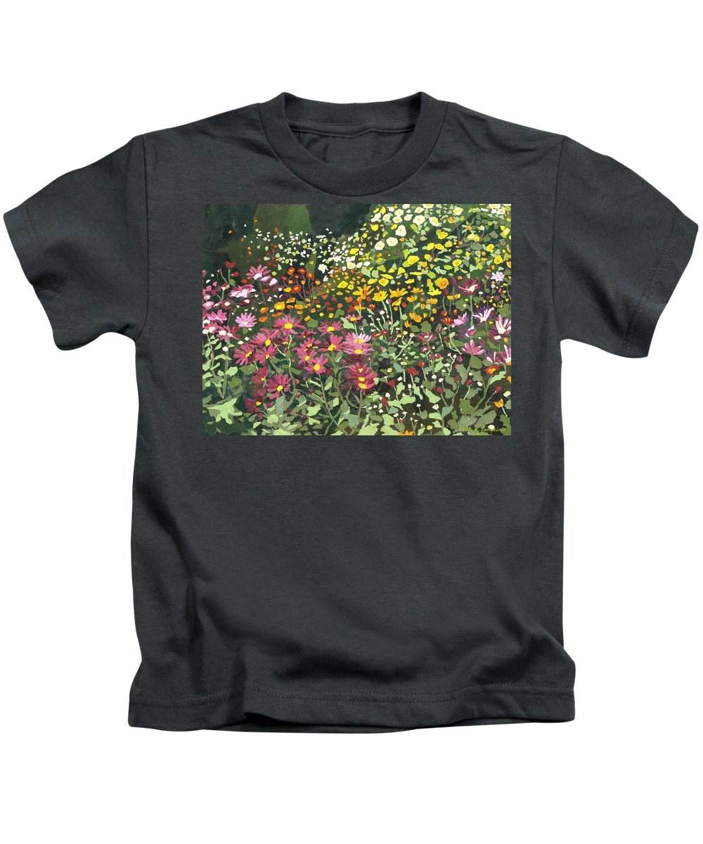 Floral Kids T-Shirt featuring the painting Smith Mums by Leah Tomaino