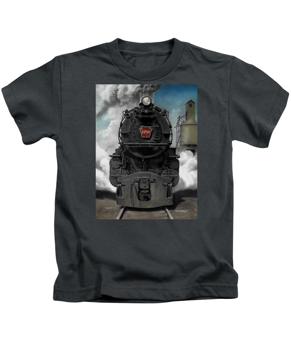 Trains Kids T-Shirt featuring the painting Smoke and Steam by David Mittner