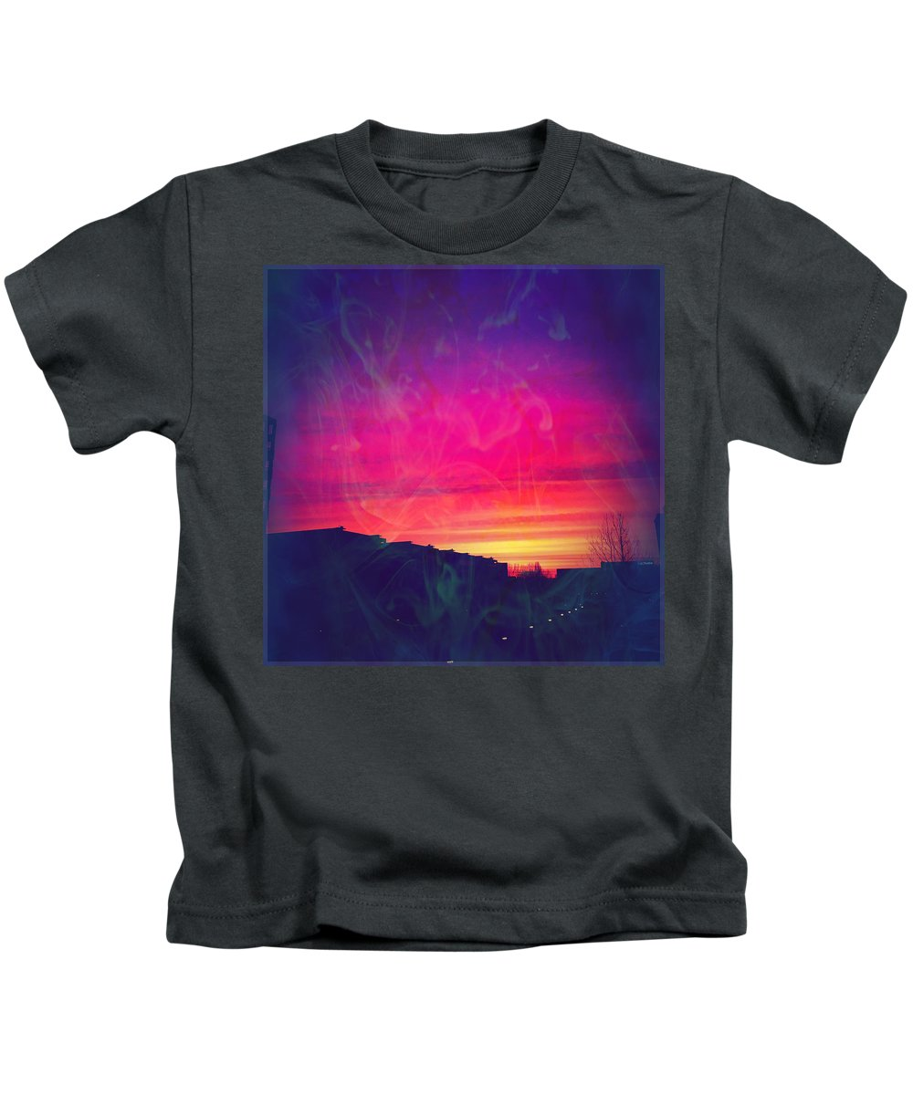 Sunrise Kids T-Shirt featuring the mixed media Smokey Purple Sunrise by Suggestive Moods