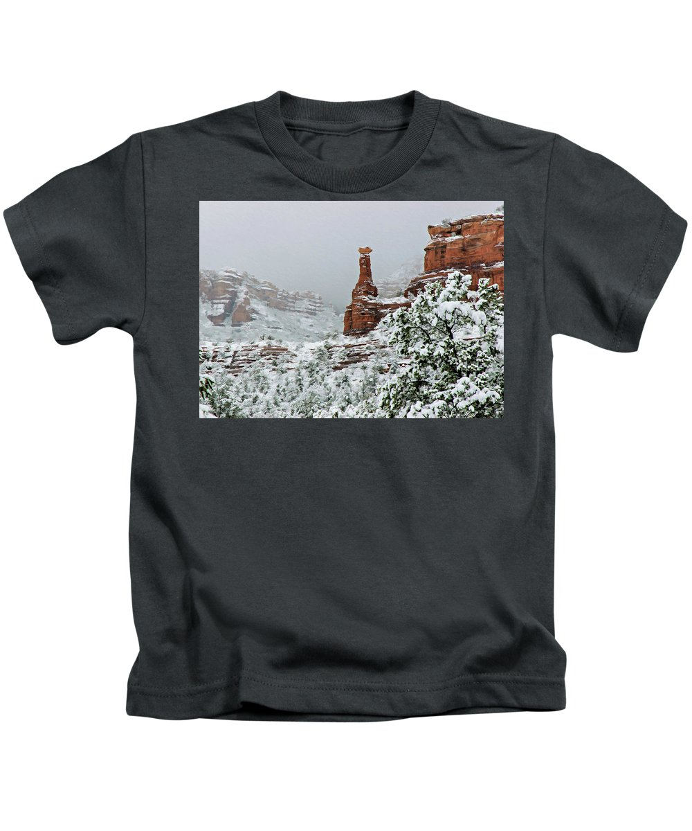 Sedona Kids T-Shirt featuring the photograph Snow 06-027 by Scott McAllister