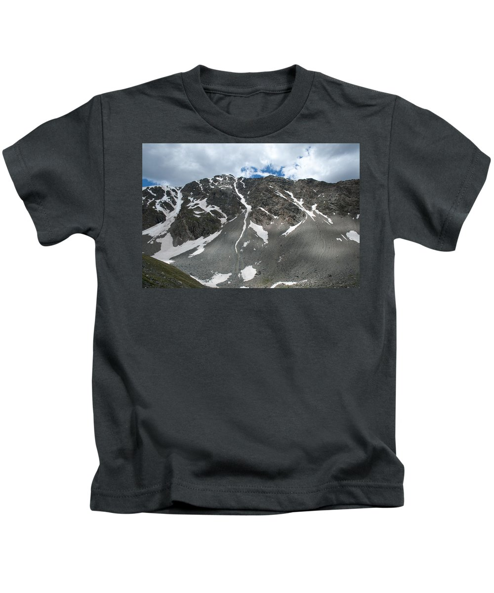Mountains Kids T-Shirt featuring the photograph Snow And Rock by Angus Hooper Iii