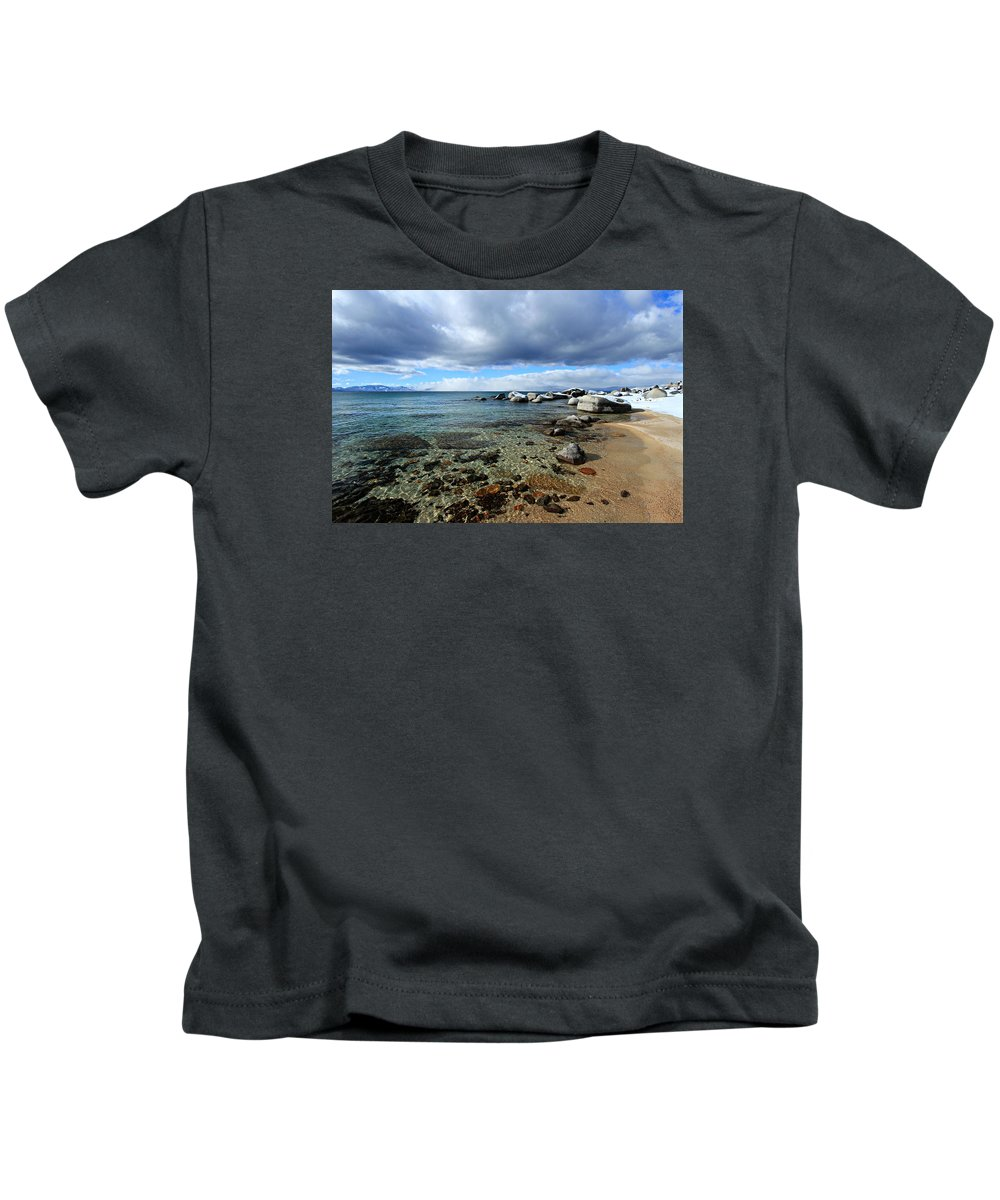 Lake Tahoe Kids T-Shirt featuring the photograph Snow Day On Her Shore by Sean Sarsfield