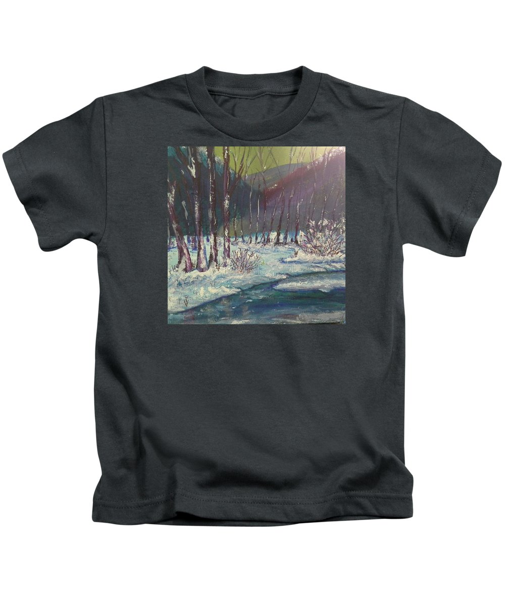 Trees Kids T-Shirt featuring the painting Snow Forest by Sharon Davis