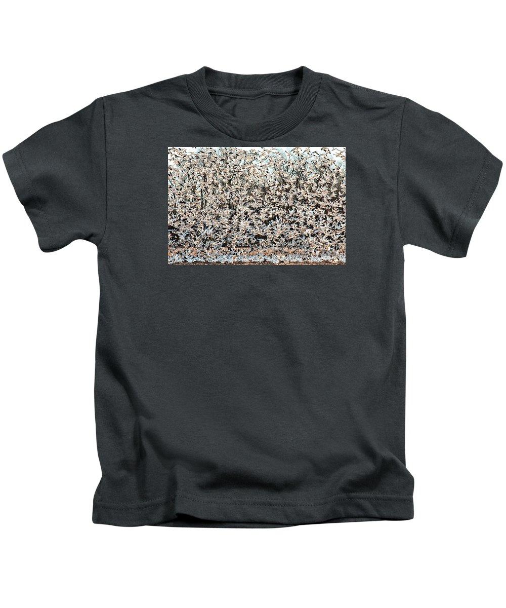 Birds Kids T-Shirt featuring the photograph Snow Geese Rising by Neva Kittrell-Scheve
