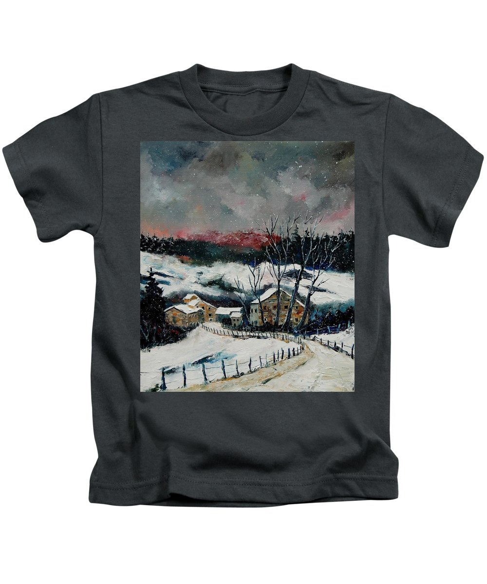 Winter Kids T-Shirt featuring the painting Snow In Sechery Redu by Pol Ledent