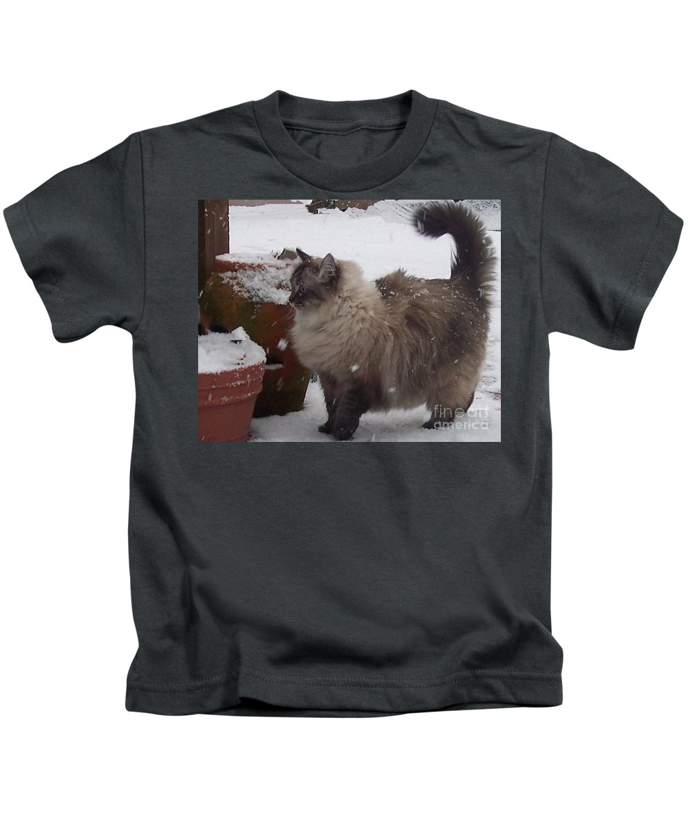 Cats Kids T-Shirt featuring the photograph Snow Kitty by Debbi Granruth