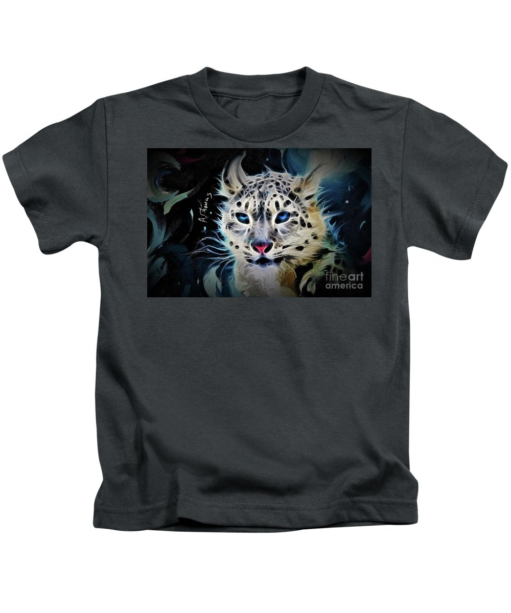 Snow Leopard Kids T-Shirt featuring the mixed media Snow Leopard by Alex Thomas