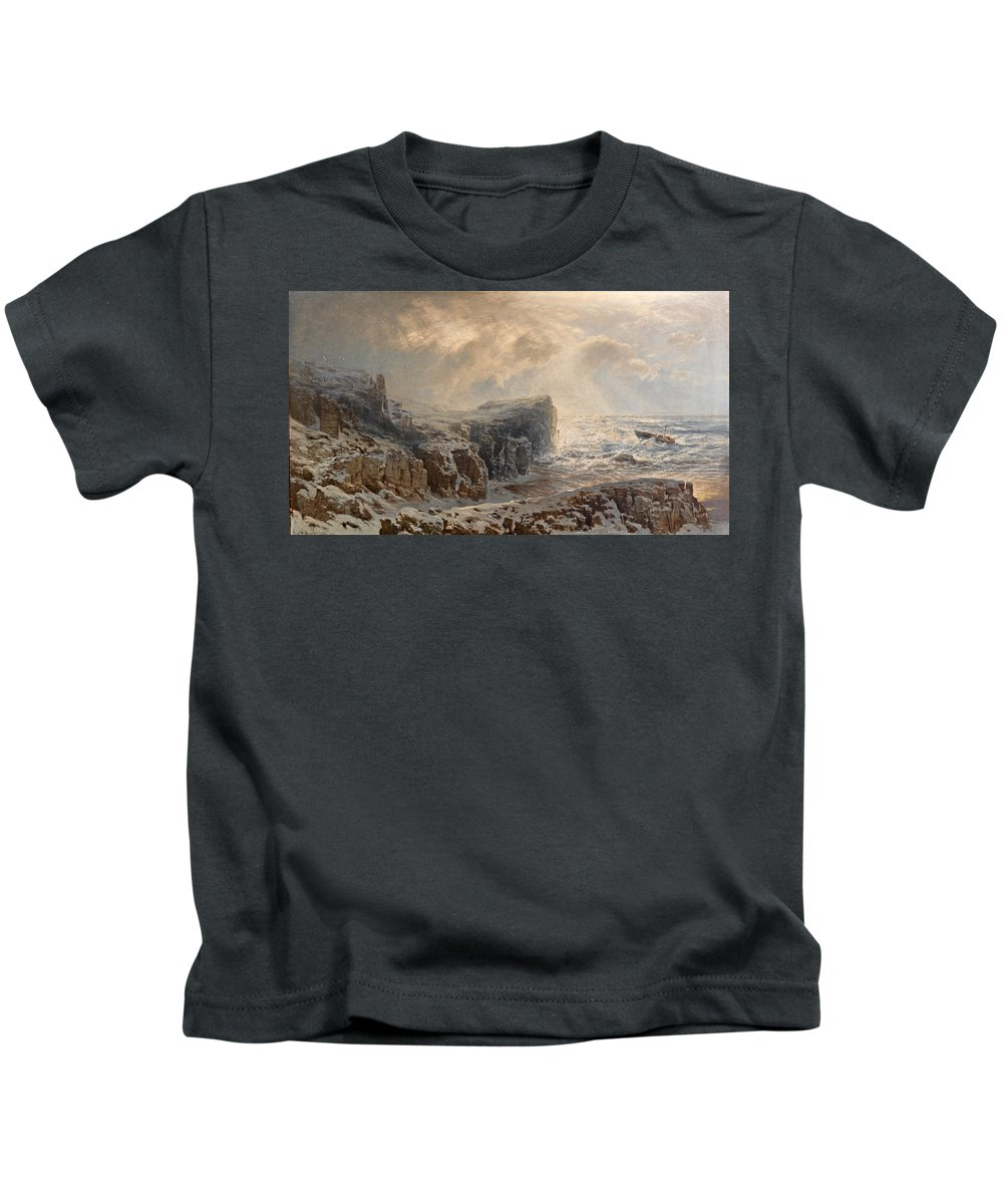 August Schaeffer Von Wienwald Kids T-Shirt featuring the painting Snow Storm On A Northern Coast by August Schaeffer von Wienwald