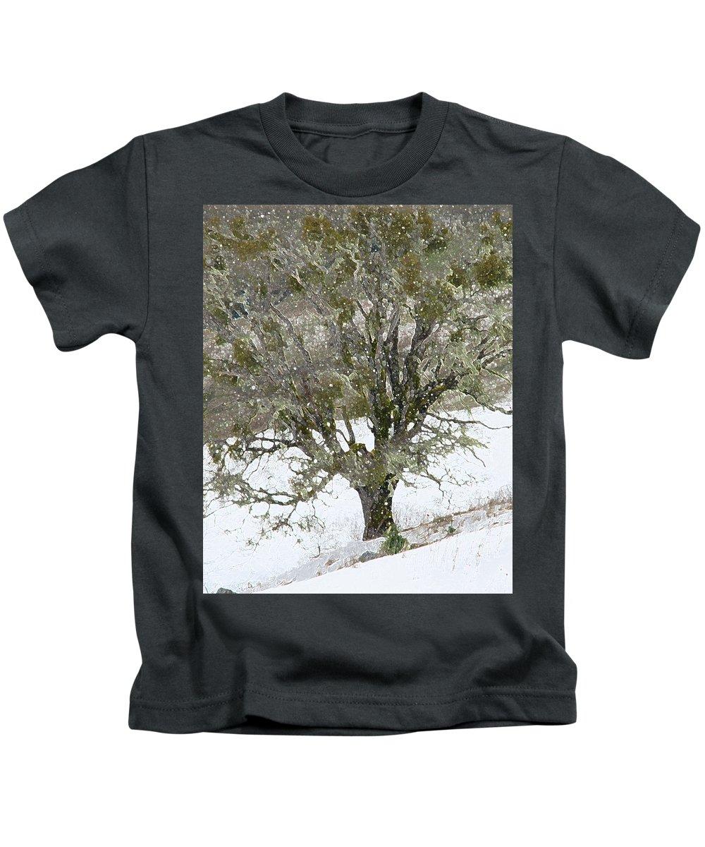 Tree Kids T-Shirt featuring the photograph Snow Tree by Carol Eliassen