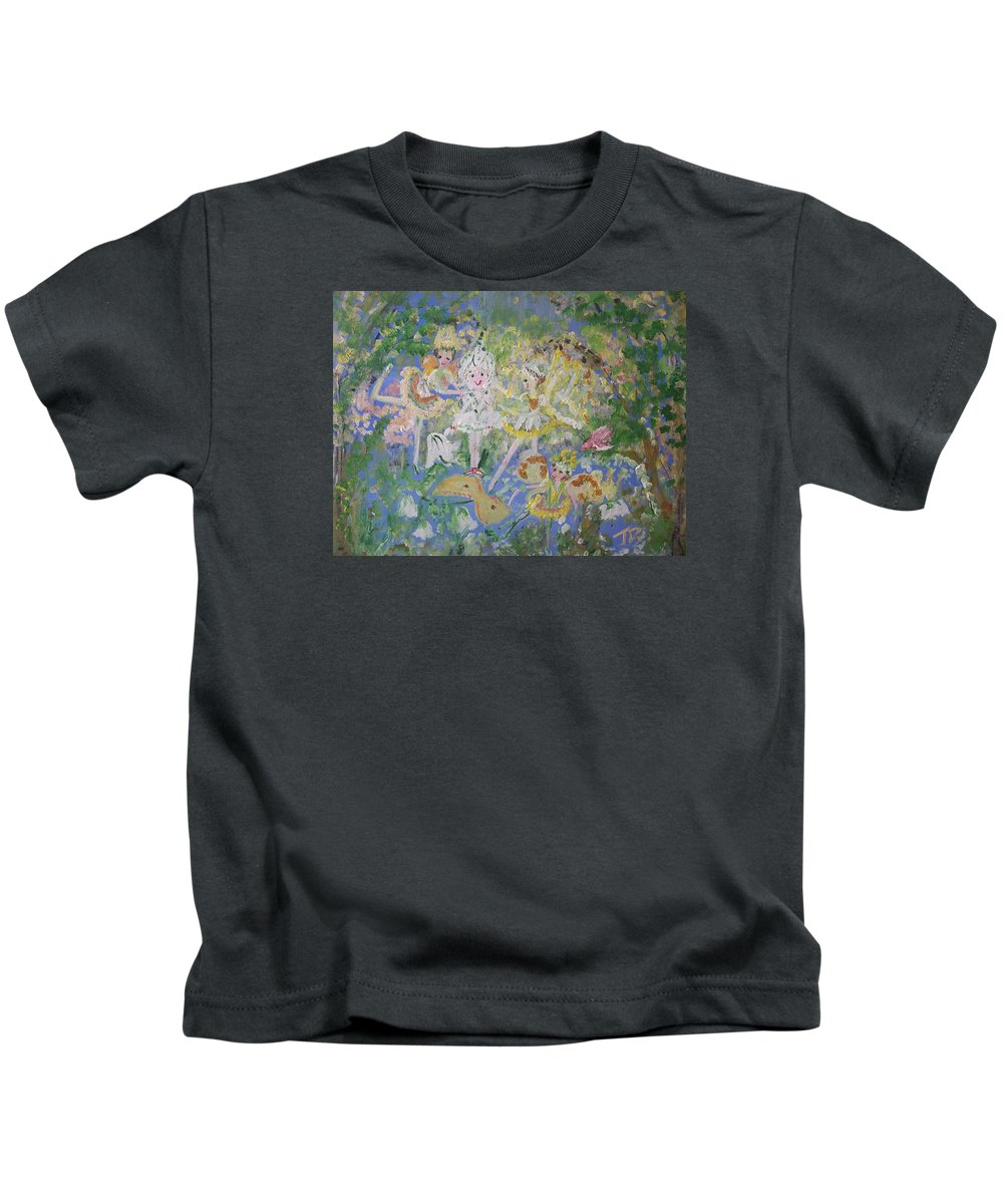 Snowdrop Kids T-Shirt featuring the painting Snowdrop The Fairy And Friends by Judith Desrosiers