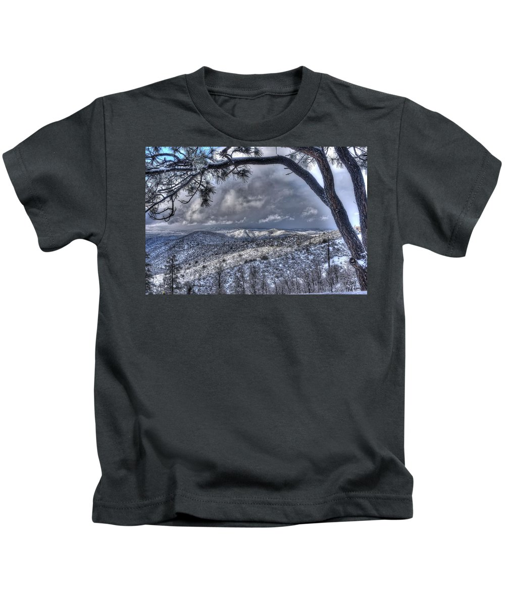 Nature Cold Freezing Rain Snow Mountains Elevation White Beauty Landscape Outdoors Prescott Highland Pines Christmas 2016 Family Happiness Tears Hdr Prescott Northern Arizona Kids T-Shirt featuring the photograph Snowfall Covers Northern Arizona For Christmas by Thomas Todd