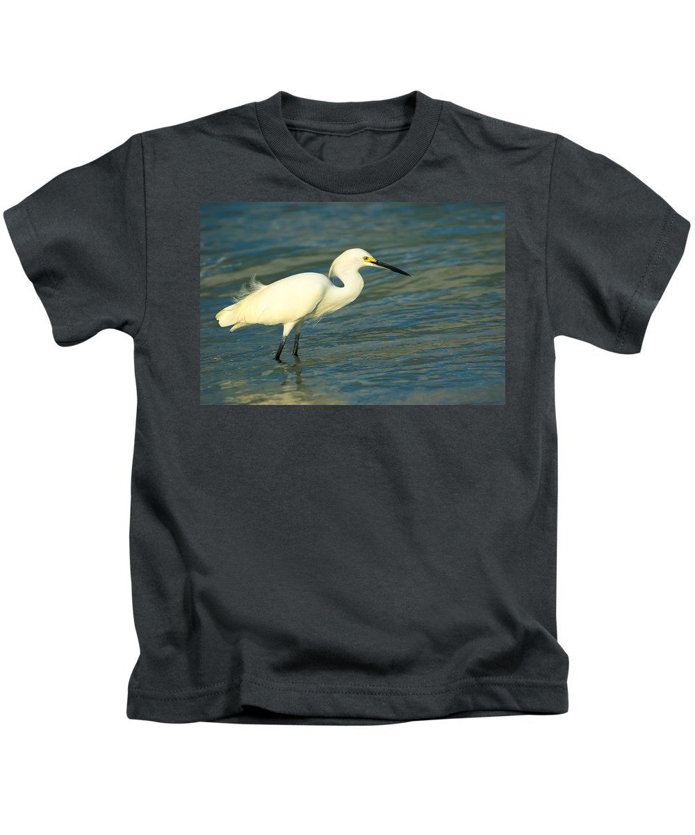 Animal Kids T-Shirt featuring the photograph Snowy Egret by Rich Leighton