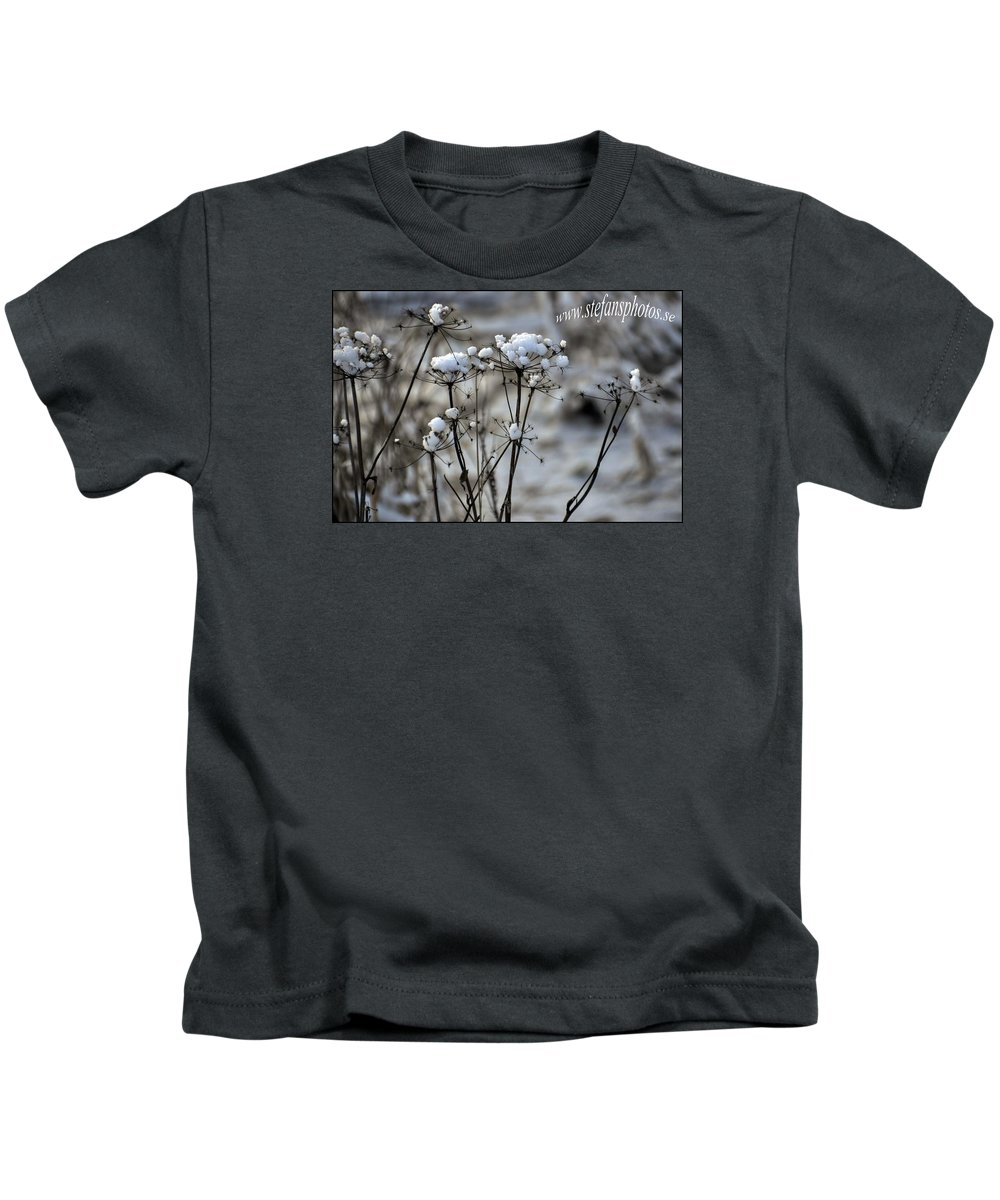 Kids T-Shirt featuring the photograph Snowy Flowers by Stefan Pettersson