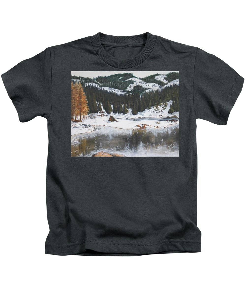 Snow Kids T-Shirt featuring the painting Snowy Lake by Travis Day