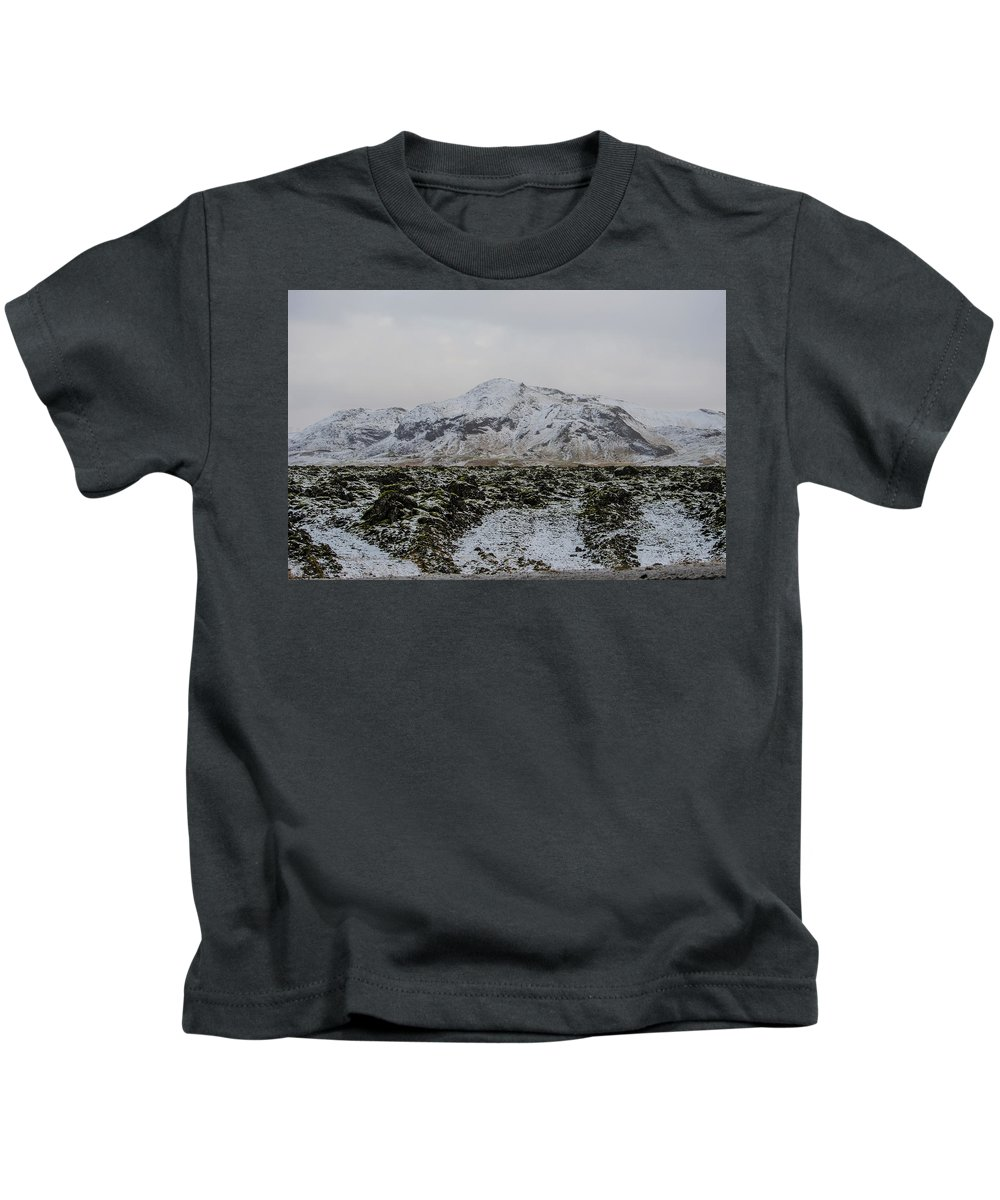 Iceland Kids T-Shirt featuring the photograph Snowy Lava Fields Iceland by Deborah Smolinske