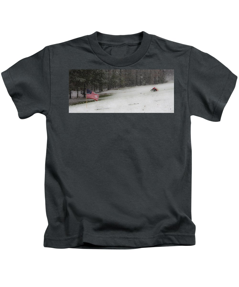 Snow Kids T-Shirt featuring the photograph Snowy Patriot Quantico National Cemetery by Teresa Mucha