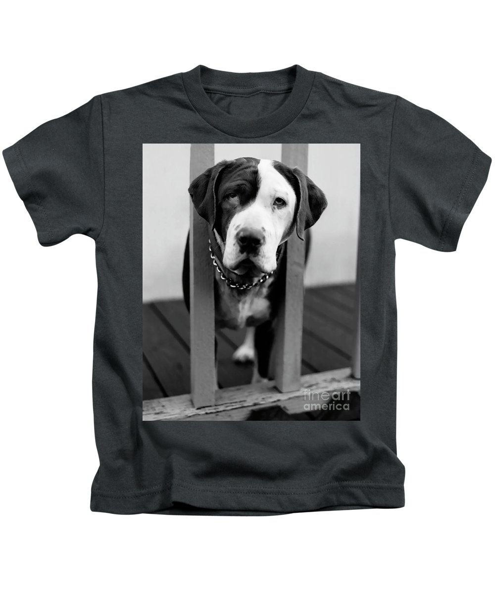 Black And White Kids T-Shirt featuring the photograph So Sad by Peter Piatt