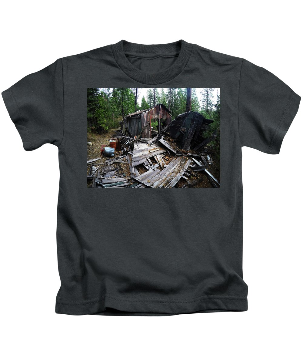 Dilapidated Kids T-Shirt featuring the photograph Soap Creek Debris, Real Estate Series by Aaron James