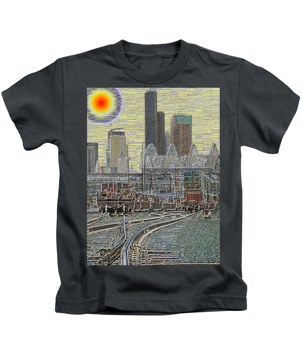 Abstract Kids T-Shirt featuring the digital art Sodo Tracks by Tim Allen