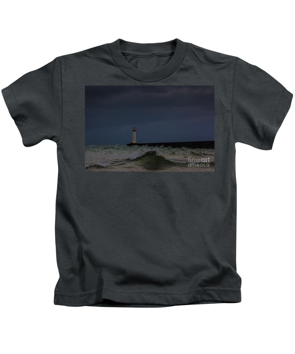 Clouds Kids T-Shirt featuring the photograph Sodus Point Outer Light by Roger Monahan
