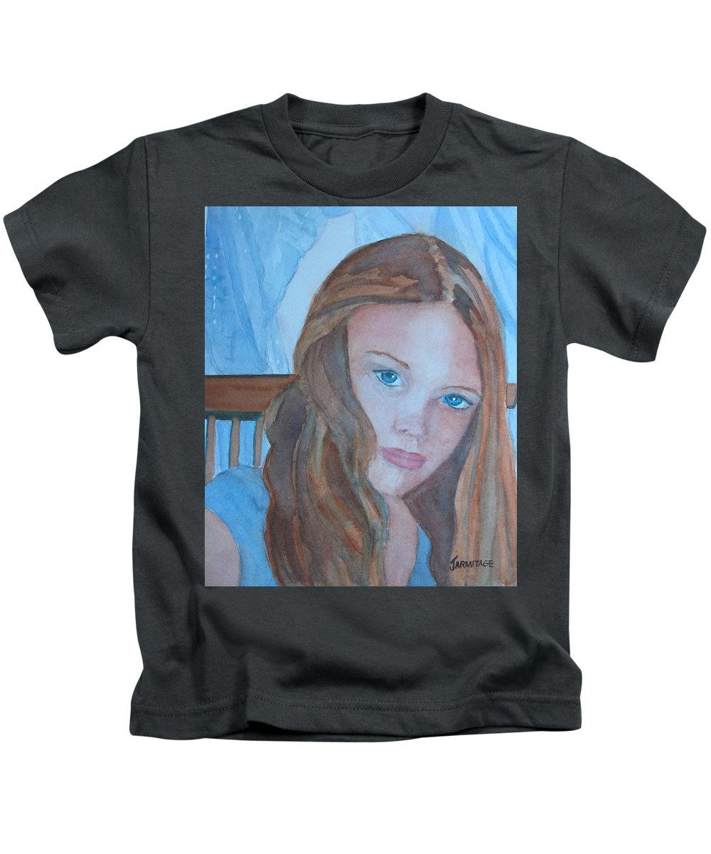 Girls Kids T-Shirt featuring the painting Soft Steel by Jenny Armitage
