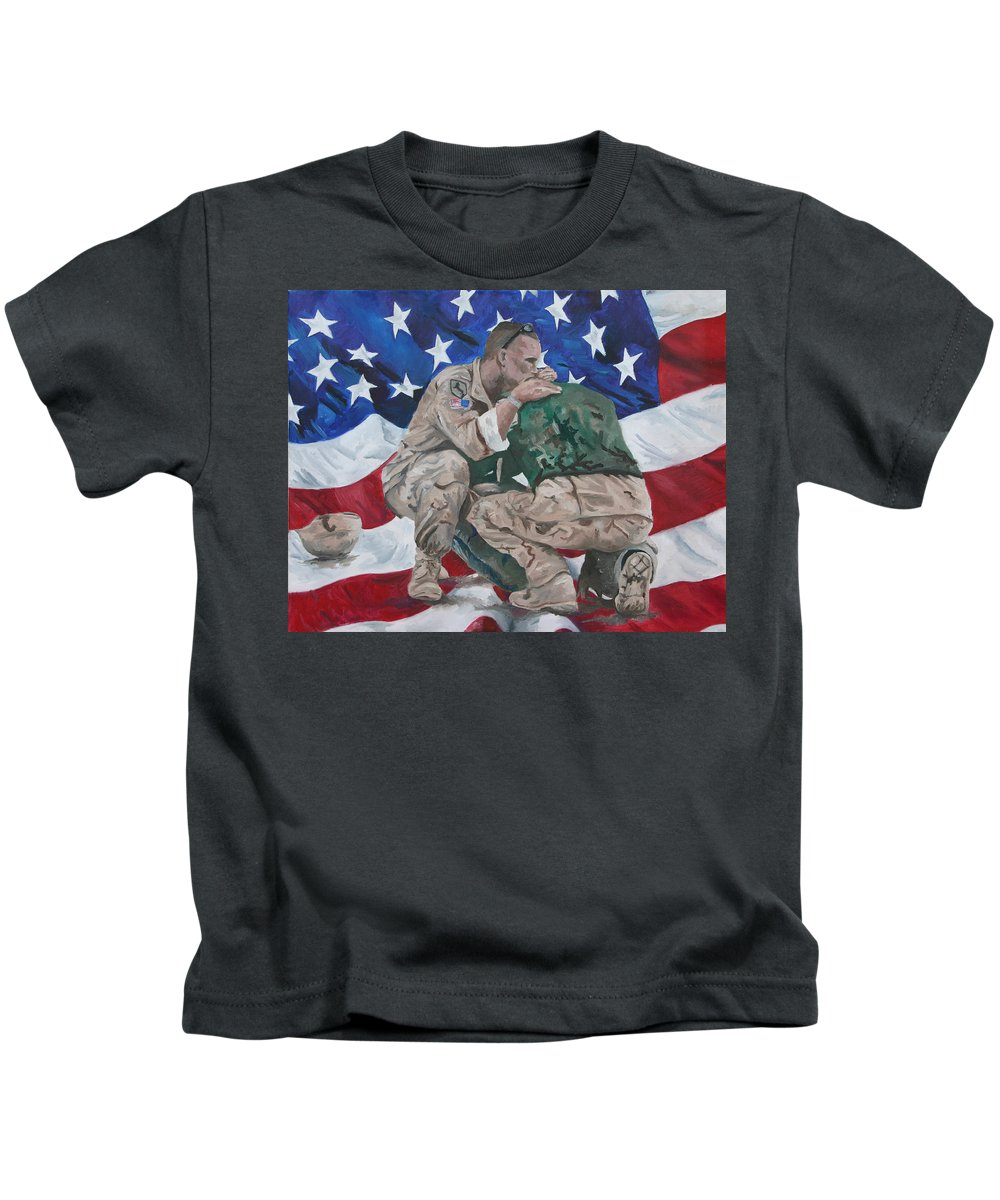 Soldiers Kids T-Shirt featuring the painting Soldiers by Travis Day