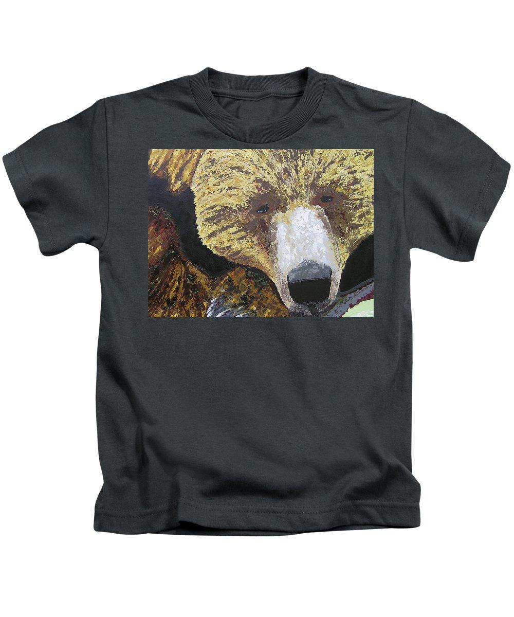 Bear Kids T-Shirt featuring the painting Solemn Strength by Ricklene Wren