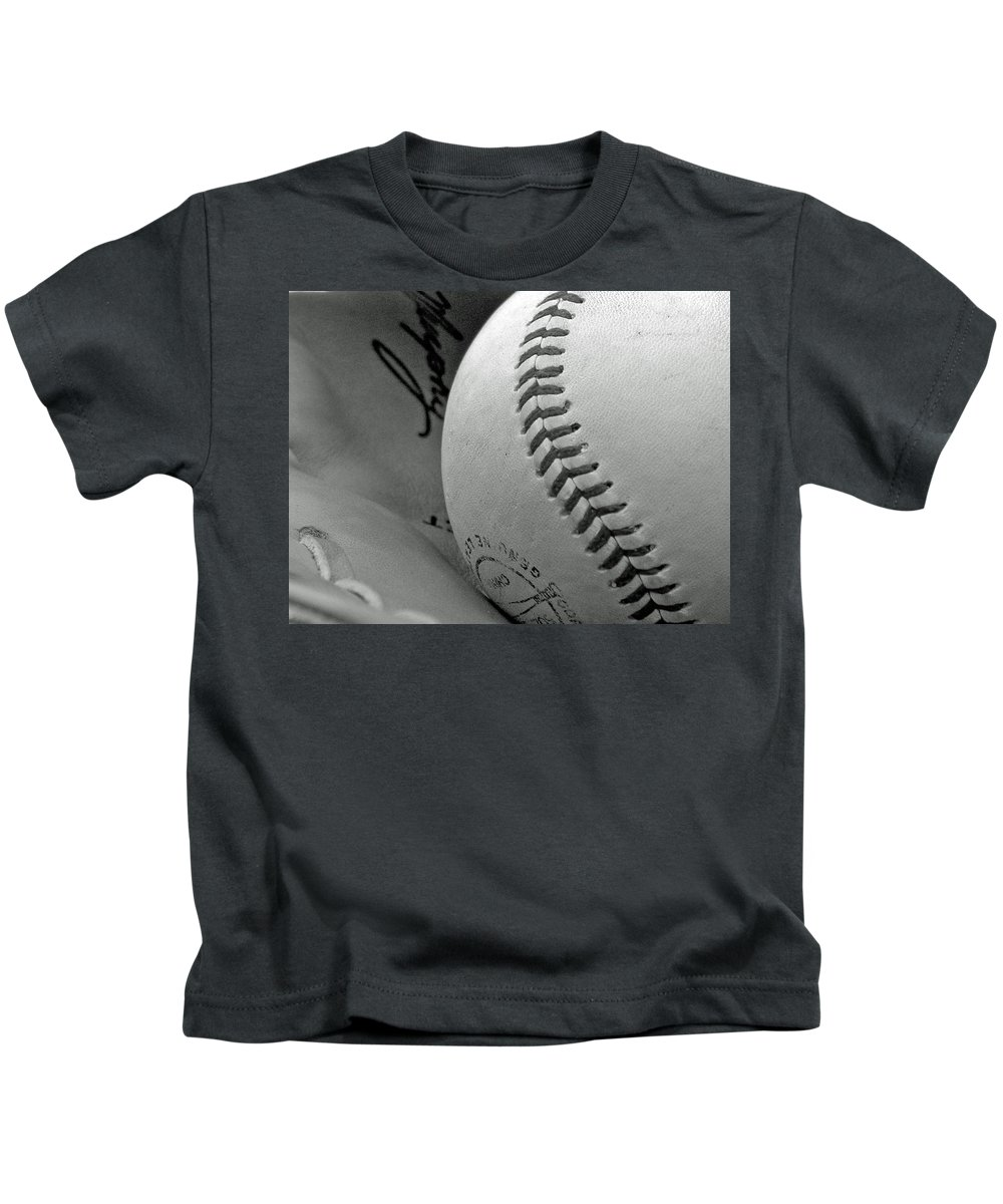 Baseball Kids T-Shirt featuring the photograph Solitary Ball by Adam Vance