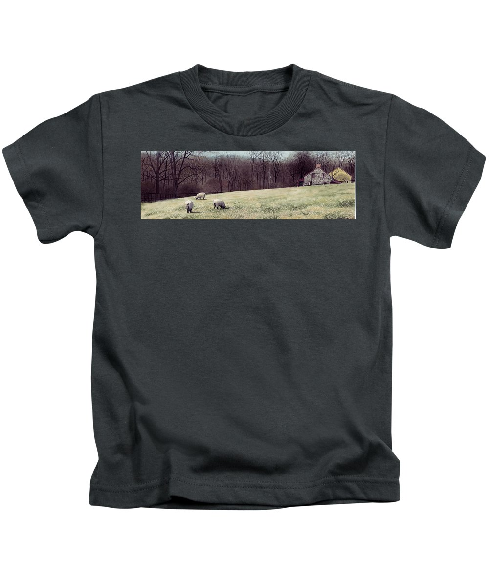 Sheep Kids T-Shirt featuring the painting Solitude by Denny Bond