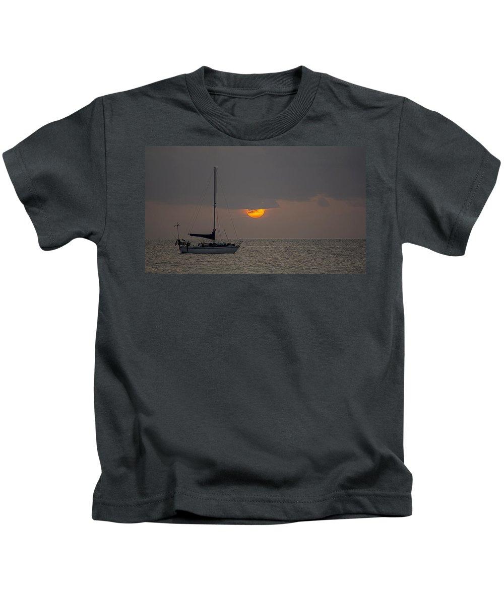 #southbeach #miamibeach #sunrise #miamiphotographer #stevelipsonphotography #streetart #ocean #clouds #goldcoast #zazzle #photo #togs #southflorida #lifestyle #advertisingagency #creative #seascape #landscape #outdoors #sailboat Kids T-Shirt featuring the photograph Miami Beach 4243 by Steve Lipson
