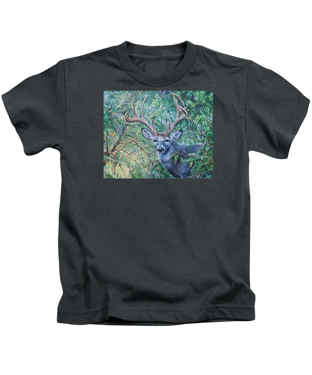 Deer Kids T-Shirt featuring the painting South Texas Deer In Thick Brush by Diann Baggett