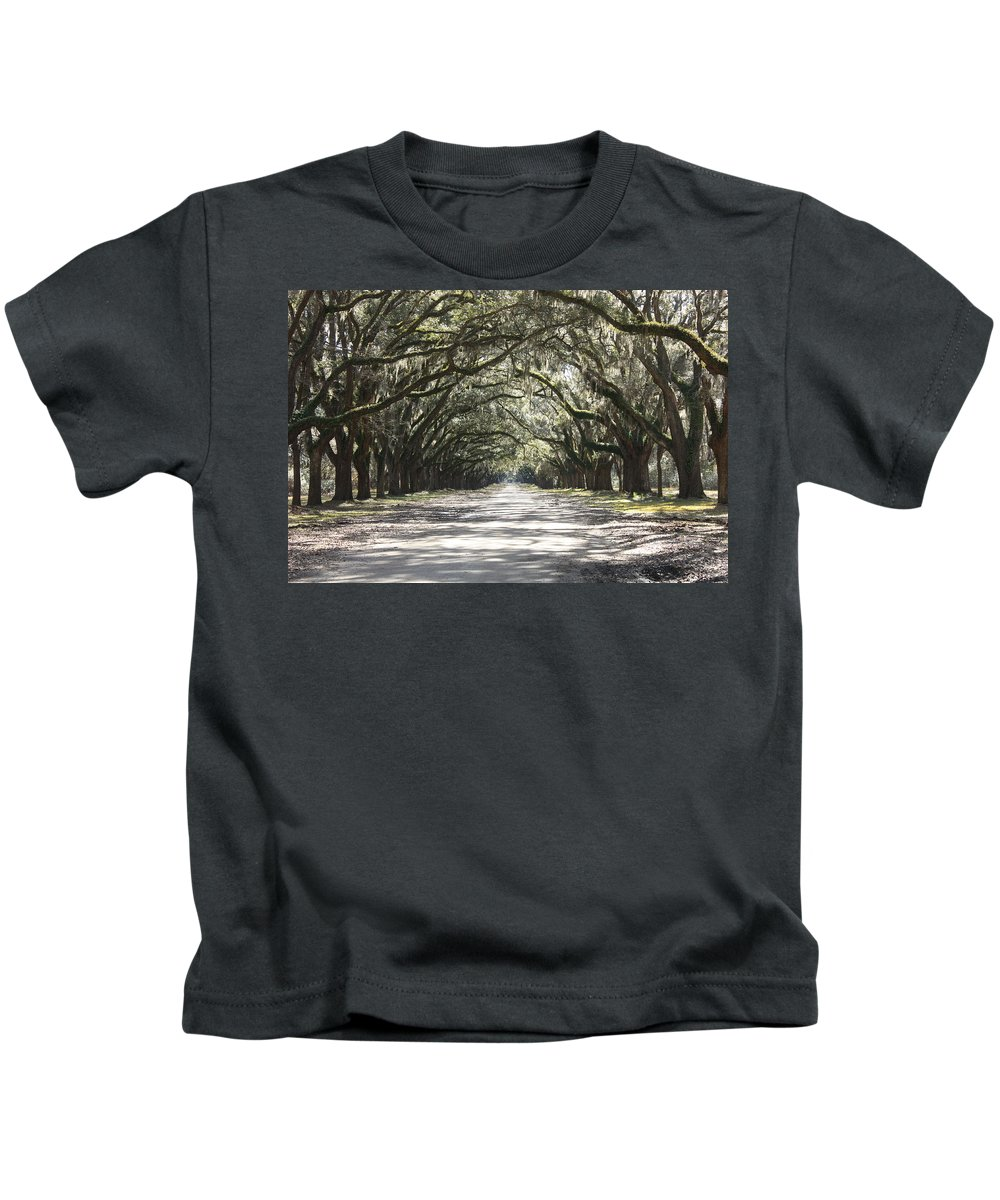 Live Oaks Kids T-Shirt featuring the photograph Southern Road by Carol Groenen