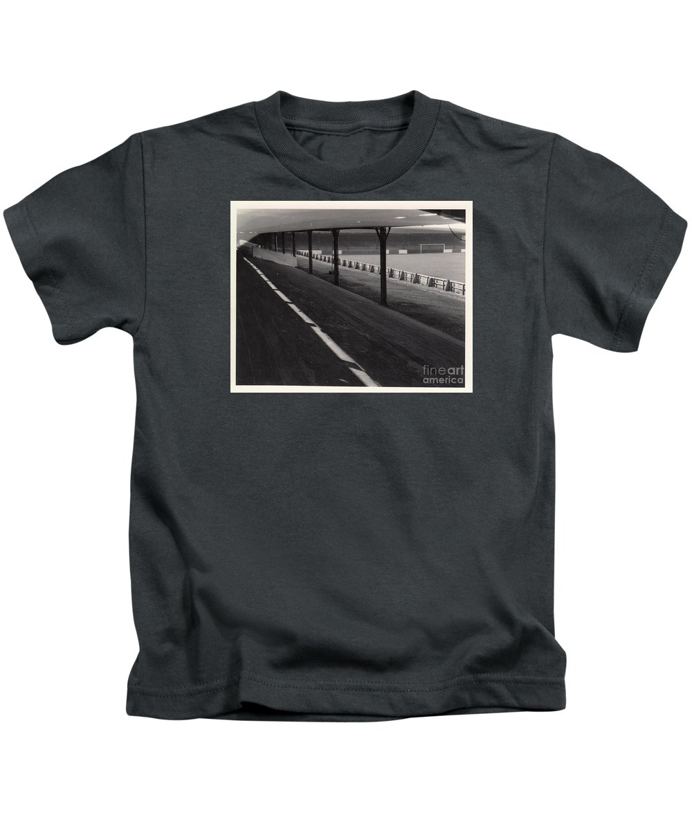 Kids T-Shirt featuring the photograph Southport Fc - Haig Avenue - Scarisbrick End 1 - Bw - Early 60s by Legendary Football Grounds