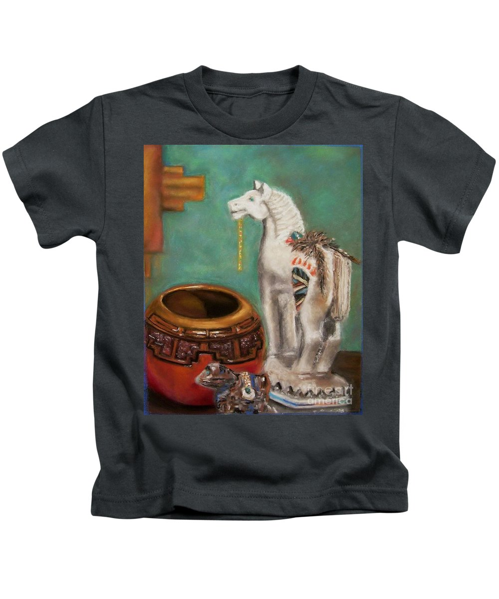 Southwest Art Kids T-Shirt featuring the painting Southwest Treasures by Frances Marino