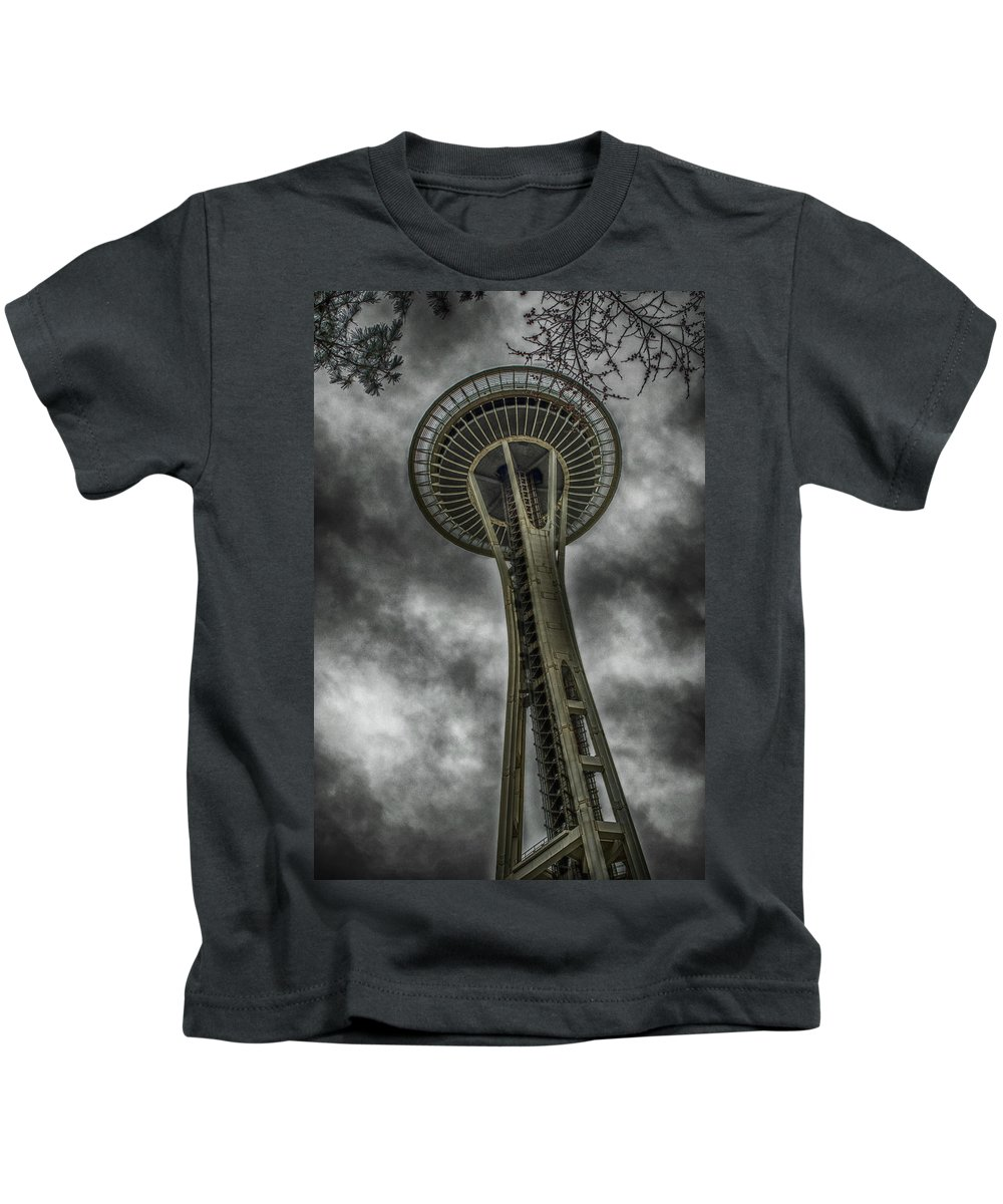 Hdr Kids T-Shirt featuring the photograph Space Needle by Zach Deets