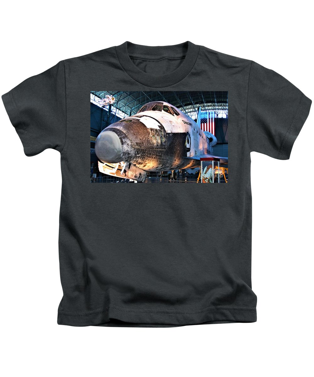 Space Shuttle Discovery View Two Kids T-Shirt featuring the photograph Space Shuttle Discovery View No. 2 by Patti Whitten