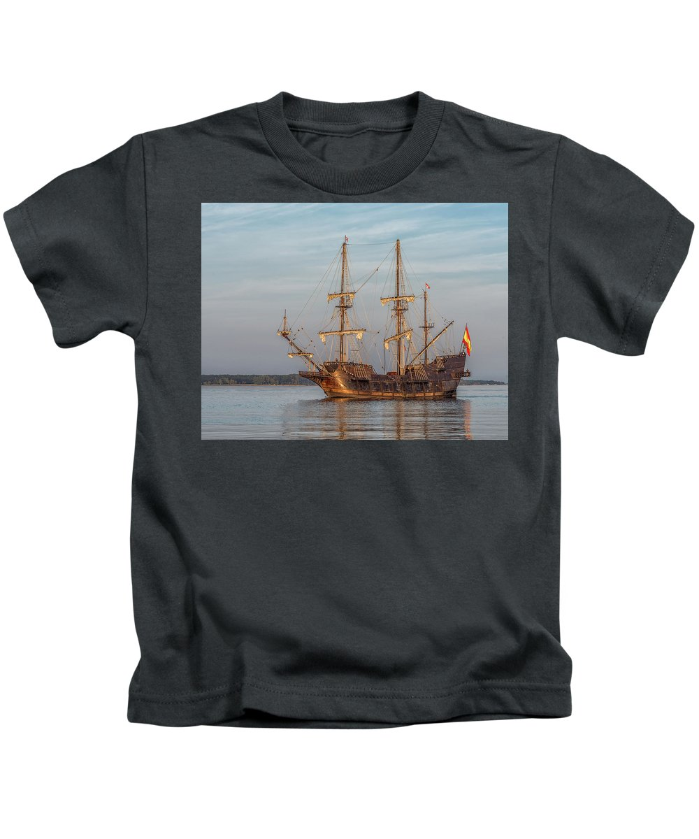 Ships Water Reflections Sailing Galleon Boats Kids T-Shirt featuring the photograph Spanish Galleon by Wayne Reynolds