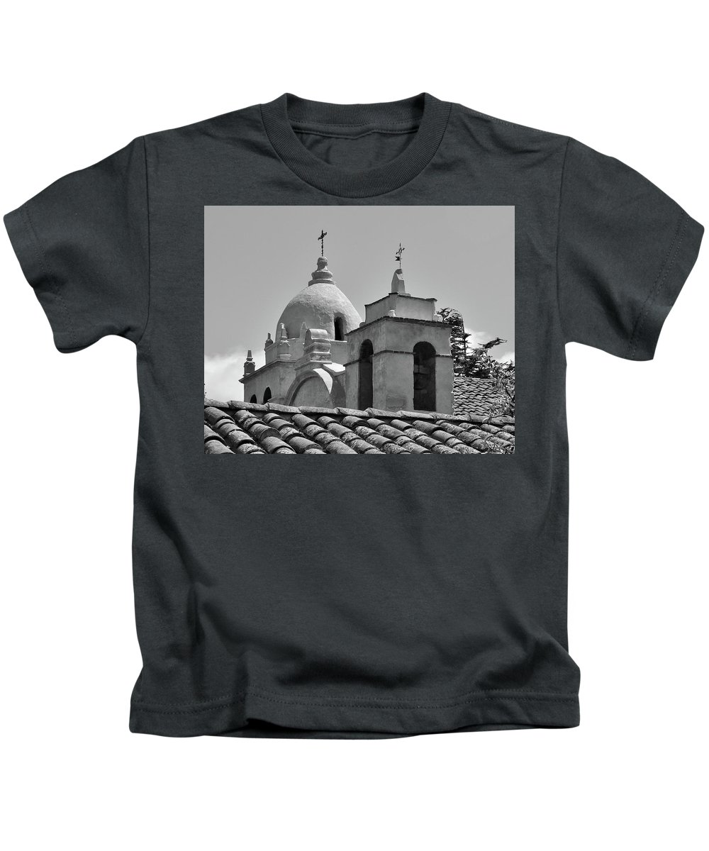 Spanish Mission Carmel By The Sea California Kids T-Shirt featuring the photograph Spanish Mission by Michael Wirmel