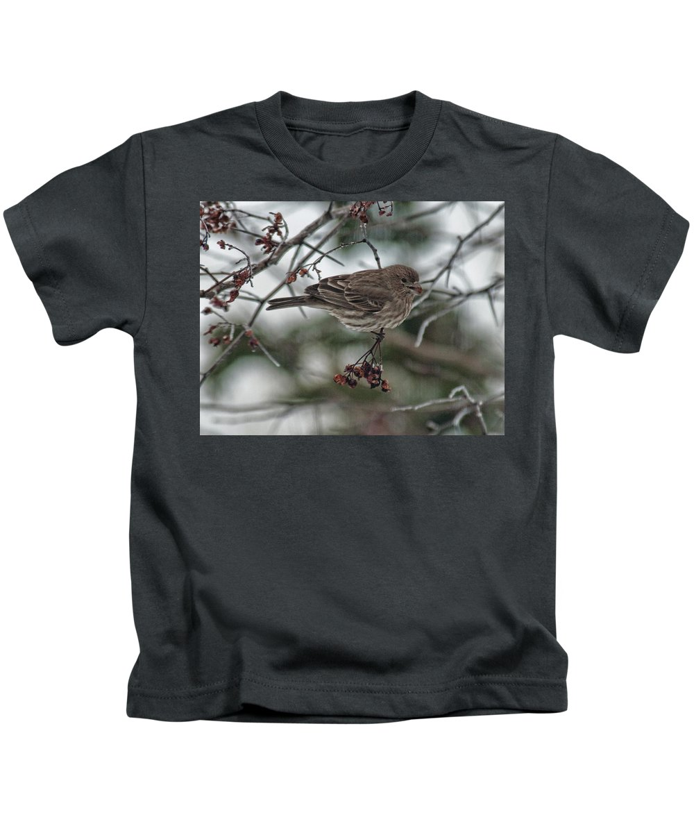 Bird Kids T-Shirt featuring the photograph Sparrow With Berry by David Arment