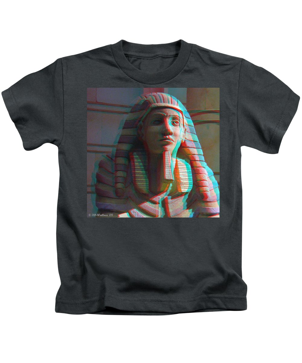 3d Kids T-Shirt featuring the photograph Sphinx - Use Red-cyan 3d Glasses by Brian Wallace