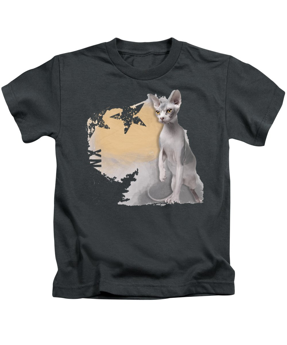 Sphynx Kids T-Shirt featuring the digital art Sphynx No 04 by Maria Astedt