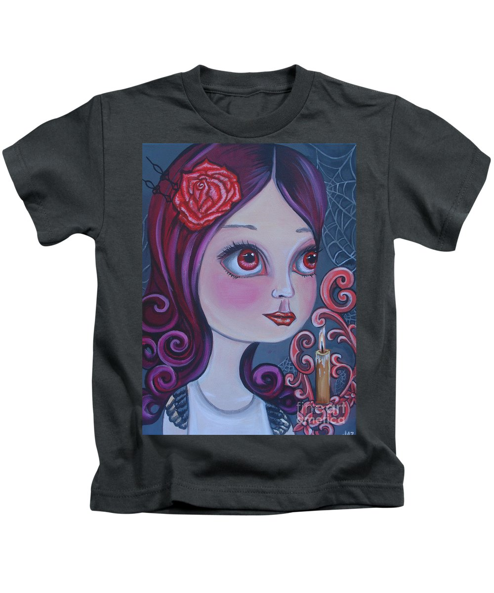 Spiderwebs Kids T-Shirt featuring the painting Spiderwebs By Candlelight by Jaz Higgins
