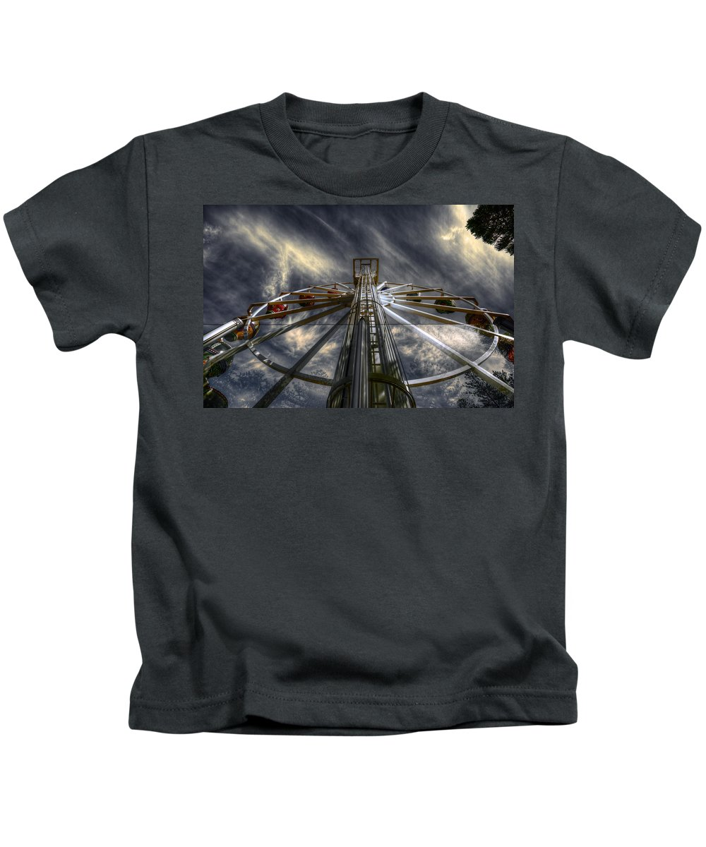 Amusement Kids T-Shirt featuring the photograph Spinner by Wayne Sherriff