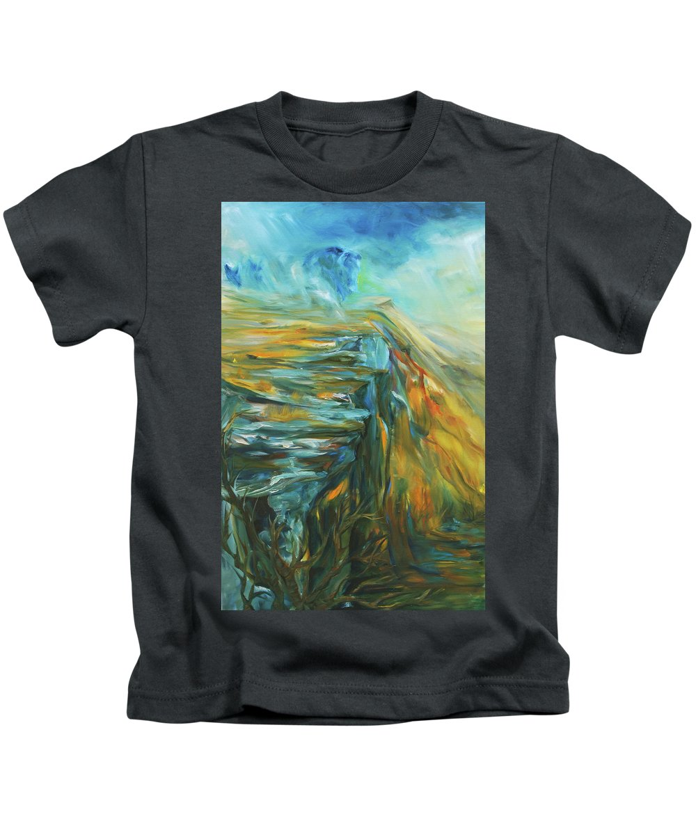 Bison Kids T-Shirt featuring the painting Spirit Of The Jump by Jennifer Christenson