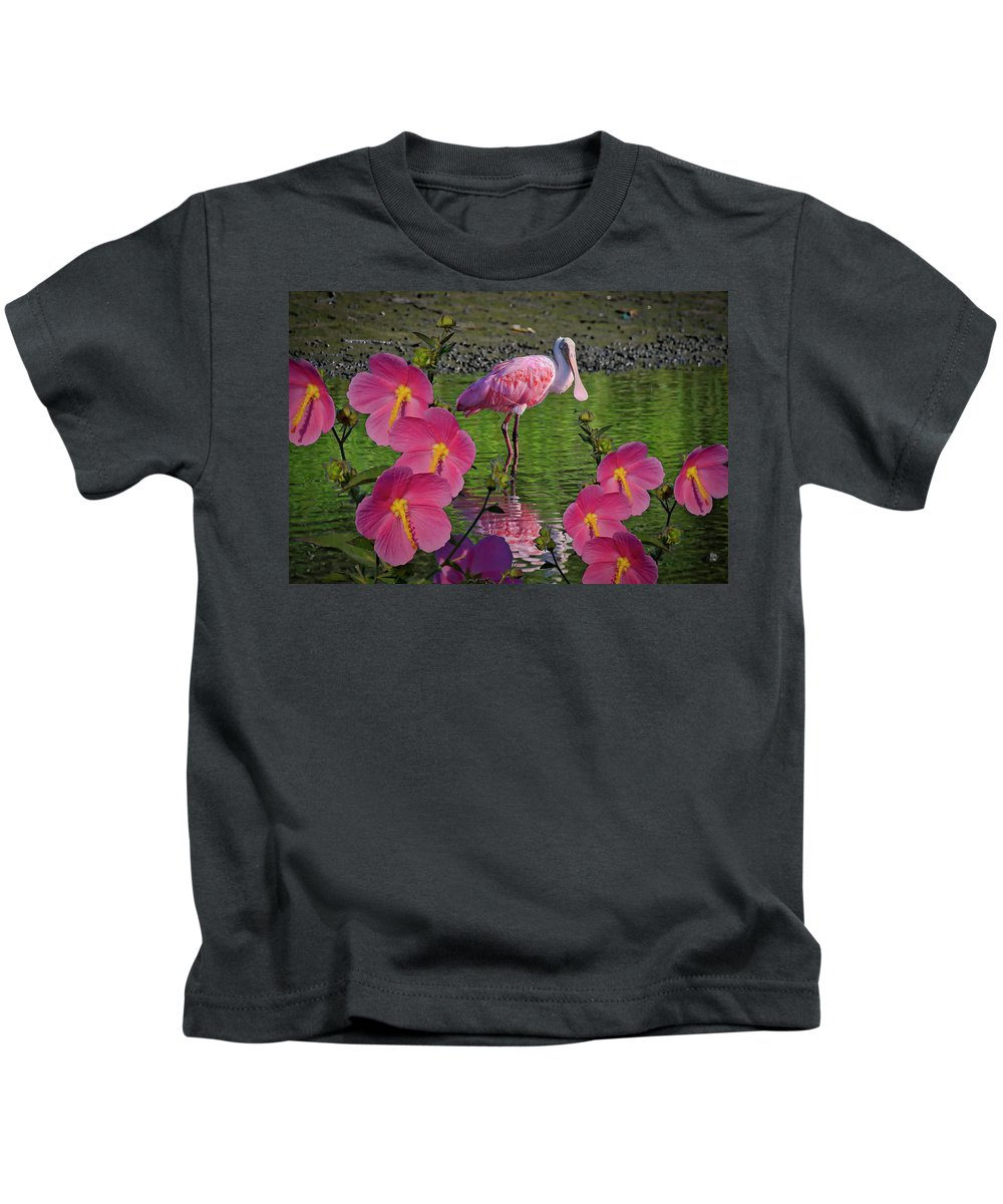 Spoonbill Kids T-Shirt featuring the photograph Spoonbill Through The Flowers by TJ Baccari