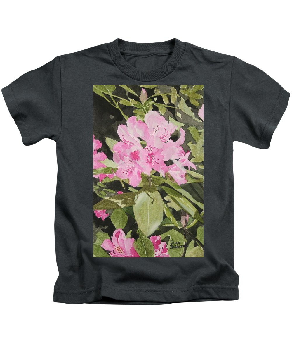 Flowers Kids T-Shirt featuring the painting Spring at the Cabin by Jean Blackmer