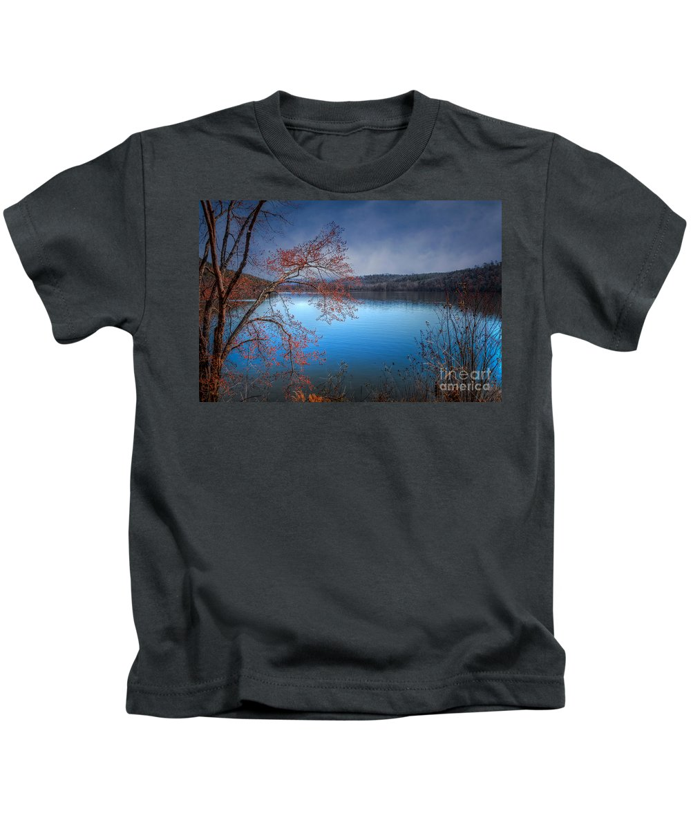 Spring Kids T-Shirt featuring the photograph Spring At The Lake by Larry McMahon
