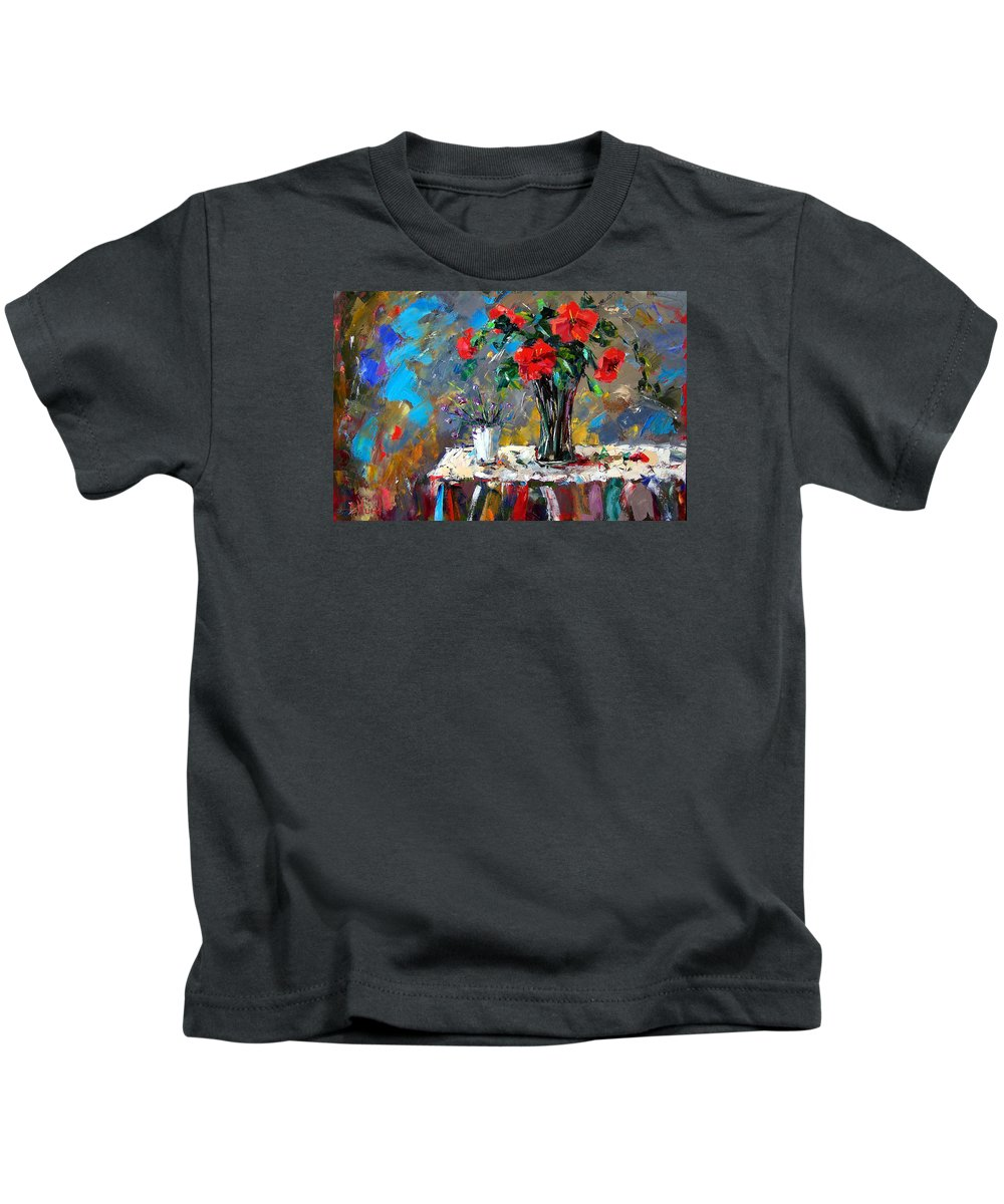Flowers Kids T-Shirt featuring the painting Spring Blooms by Debra Hurd